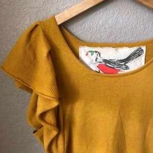 Anthropologie Charlie Robin yellow sweater.